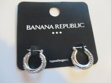 Banana Republic Silver Small Rope Shiny Hoop Earrings NWOT $29