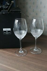 """2 Waterford Crystal """"Lume"""" Wine Glasses by John Rocha Super Box + Signed 9"""" tall"""