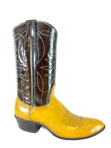 Nocona K7823 Brown Yellow Leather Western Womens Boots Size 7.5 A
