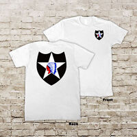 US ARMY 2nd Infantry Division Indianhead 2ID 2n WWII White or Black T-Shirt