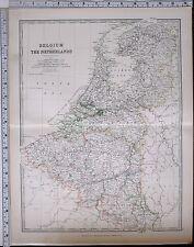 1881 LARGE ANTIQUE MAP BELGIUM & THE NETHERLANDS FLANDERS ANTWERP BRABANT NAMUR
