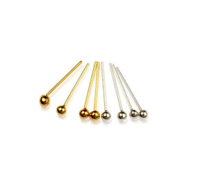 1PC Of 1.8mm Straight L Bend Micro Ball Nose Stud Sterling Silver Or Gold Plated