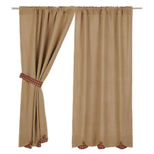 Burlap Natural Burgundy Check Scalloped Short Curtain Panel Set by VHC Brands