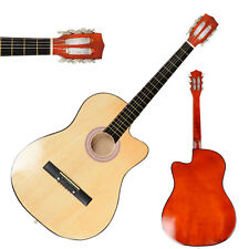 New 38 Inch Acoustic Guitar Cutaway Design Natural + String