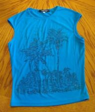 Women's - Rampage Clothing Co. Medium Blue Beaded Sleeveless Top - Size Med