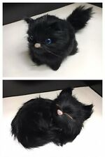 Vtg Pair of Black Cat Figurines Polyethylene Fur Simulation Chantilly-Tiffany