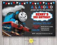Printable Boy Birthday Invitation Thomas the Tank Engine Chalkboard or White