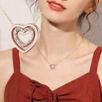 Roségold Doppelherz Steinkette Anhänger Halskette Damenschmuck Q5W1