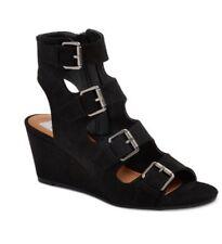 NEW DV by Dolce Vita Black LeeAnn Buckle Wedge Gladiator Sandal Women's Size 7