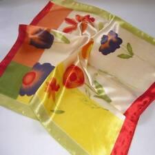 Water color flora Soft Neckerchief Shawl Head Bandanas Square Scarf Satin