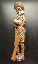 Vintage Large Colonial Soldier Carved Wall Art Sculpture Revolutionary War SIGNE