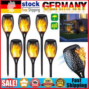 6 Stk LED Flackernde Landschaft Tanzen Flamme Solar Fackel Lampen Garten Licht