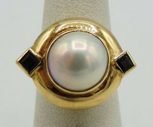 14K Yellow Gold 12mm Baroque Pearl 2 Sapphire Ring Size 5 18mm 9.1g S1911