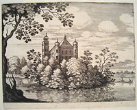 Matthäus Merian Copperplate Wasserschloß River Boat Buschwerk 1620 Jugendwerk