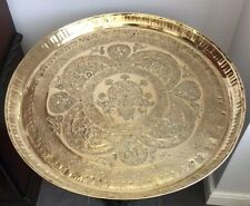 ANTIQUE ROUND 67CM PERSIAN ISLAMIC BRASS TRAY CHARGER WITH WONDERFUL DECORATION