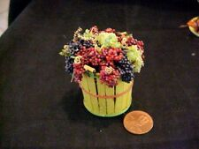 Dollhouse miniature bushel basket assorted grapes IGMA Fellow Uyetake