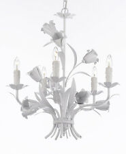 Floral ITALY TOLE STYLE 5 light GLOSS White finish Chandelier PLUGIN OPTION Nice