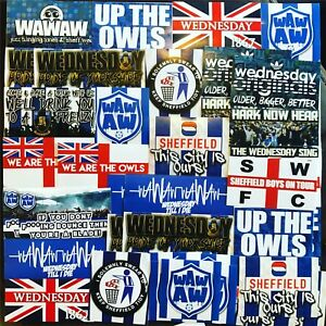 100 x Sheffield Wednesday Ultra Style Stickers inspired by Poster Programme SWFC