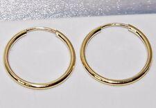 9CT YELLOW GOLD LADIES 16mm SLEEPER HOOP EARRINGS