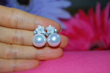 Pearl Shell Alloy Round Stone Costume Earrings