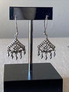 Sterling Silver .925 Pierced Earrings Floral Fan Drop Dangle Marked 4.88g