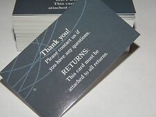 100 Merchandise Tags Cards Thank You Returns Attached Tagging Clothing Boutique