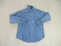 Harley Davidson Button Up Shirt Adult Medium Blue Motorcycle Biker Mens A46*