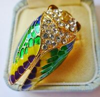 Cicada Insect brooch enamel rhinestone crystal vintage style bug pin in gift box