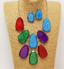 Gold and Multi Colored Chunky Necklace Set