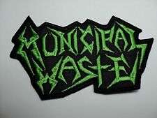 MUNICIPAL WASTE GREEN LOGO SHAPED EMBROIDERED PATCH