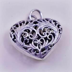 vintage sterling silver handmade pendant, 925 filigree heart