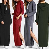 Collège Femme Sweat-shirt Robe à capuche Manche Longue Fendu Droit Jupe Plus