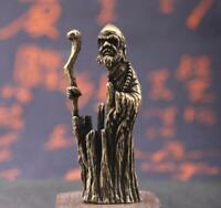 old brass Hand carved Hollow Bodhidharma Buddha Statue figure collectable