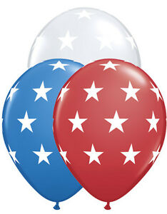 "10 pc 11"" Patriotic Stars Latex Balloons Veterans Day Flag Memorial 4th of July"