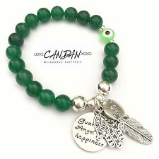 Green Evil Eye Guardian Angel For Happiness Feather Hamsa Hand Believe Bracelet