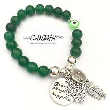 Evil Eye Guardian Angel For Happiness Feather Hamsa Emerald Believe Bracelet