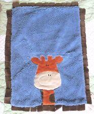 Boogie Baby Blue & Fluffy Brown Plush Giraffe Baby Security Blanket w Fringe EUC