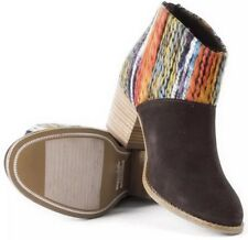 NWT Toms Leila Chocolate Suede Multi Textile Booties 10006207 Womens 7.5 Rare