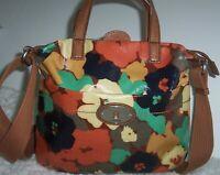 Fossil Key-Per Satchel Crossbody Shoulder Bag Purse Coated Canvas Brown Floral