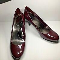 Merona Heels Women's 10M Burgundy Patent Leather Slip On Shoes