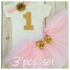 first birthday outfit ,Gold One, Pink And Gold tutu outfit
