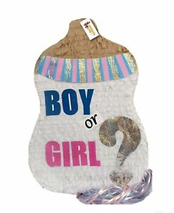 Boy or Girl Baby Bottle Gender Reveal Pinata Pull Strings Style