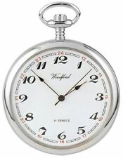 Reloj De Bolsillo Woodford árabe Abierta Cara Mecánico-Plateado/Blanco