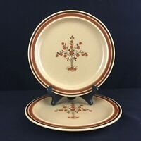 Set of 2 VTG Salad Plates by Newcor Romantic Stoneware 152 Fruit Trees Japan
