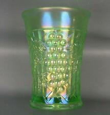 CARNIVAL GLASS - NORTHWOOD GRAPE ARBOR ICE GREEN Tumbler w/ Polished Base 3562