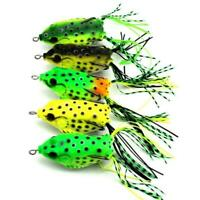 5PCS/Lot Cute Frog Topwater Fishing Lure Crankbait Hooks Bass Bait Tackle New