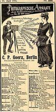 C.P.Goerz Berlin PHOTOGRAPHISCHE APPARATE Historische Annonce 1895