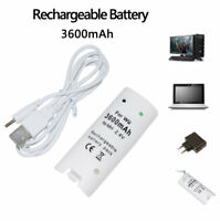3600mah White Rechargeable Battery pack for Wii Remote Controller WHITE NEW