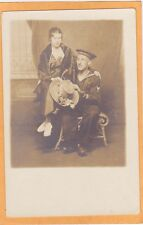 Studio Real Photo Postcard RPPC - Sailor and Woman with Large Hat Navy Military
