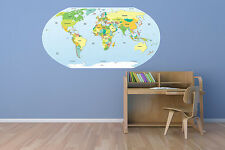 "Political World Map Wall Decal World Country Vinyl Art 56""x29"" MADE IN USA"